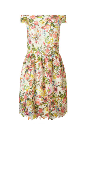 Cece Printed Lace Fit Flare Short Dress